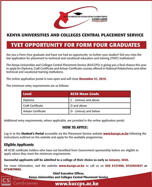 KUCCPS Opens For New Applicants